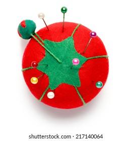 Tomato Sewing Pin Cushion on White