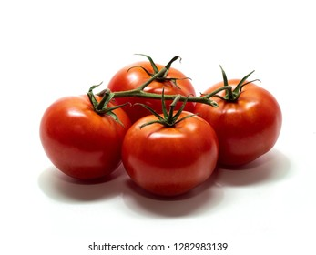 tomato, shrub tomatoes with stems, large, white background