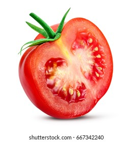Tomato. Tomato slice. Full depth of field. With clipping path.