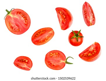 Tomato sliced isolated on white, top view.