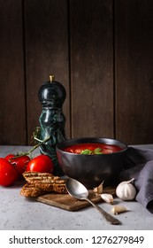 Tomato soup with basil and cream