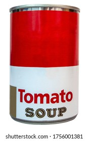 Tomato soup can isolated on white.