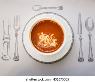 Tomato soup on the table