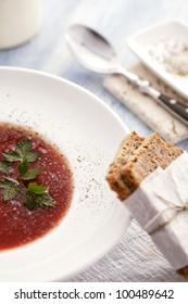 tomato soup and wholemeal bread