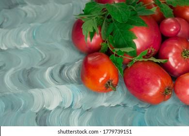 Tomato varieties have name Dwarf Firebird sweet. Fresh ripe pink beef tomato. Tomatoes large heart shaped