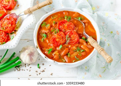 Tomato Vegetarian Soup with Beans and Baked Tomatoes