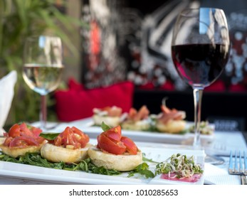 tomatoes, aperitives and wine