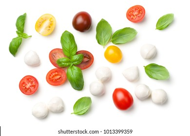Tomatoes, basil and Mozzarella Isolated on White Background. Top view