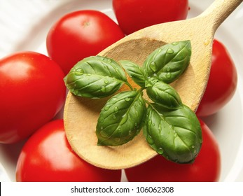 Tomatoes and basil with spoon