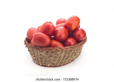 Tomatoes in a basket not a white background
