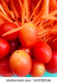 tomatoes carrot shredded vegetable food nutural
