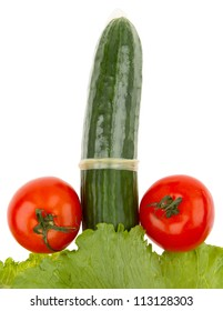 Tomatoes and cucumber in a condom isolated on white