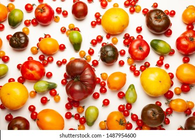Tomatoes of different shapes in sizes and colors, homemade vegetables isolated on white background.