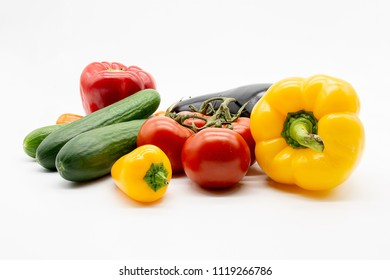 tomatoes, eggplant, cucumbers and peppers