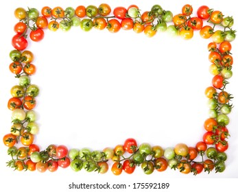 tomatoes frame isolated on a white background
