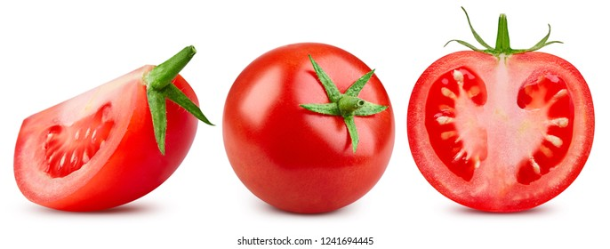 Tomatoes isolated on the white background. Tomatoes Clipping Path. Collection Set
