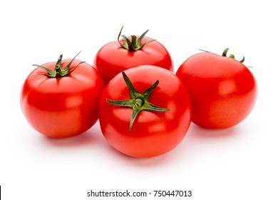 Tomatoes isolated on white background.