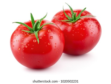 Tomatoes isolated on white. Tomato with drops. Full depth of field.