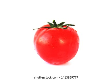 Tomatoes isolated on white. Tomato with drops.