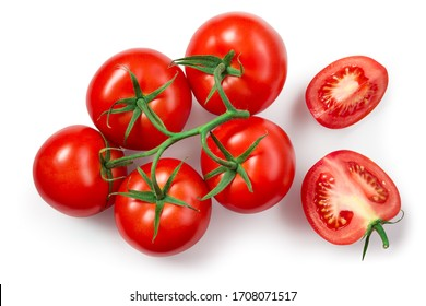 Tomatoes isolated. Tomato branch on white. Tomato with clipping path. Top view tomatoes. Tomato flat lay. - Shutterstock ID 1708071517