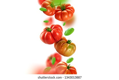Tomatoes and leaves falling from the air