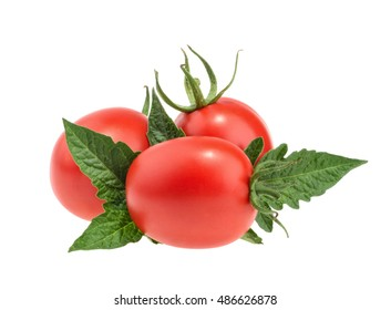 Tomatoes with leaves isolated on white without shadow