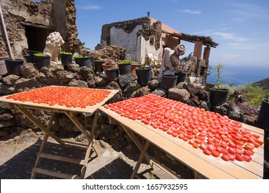 tomatoes left to dry in the sun on the island of Filicudi, Aeolian Islands, Messina, Sicily, Italy