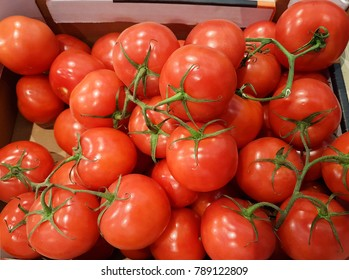 tomatoes many bunch in super market for background