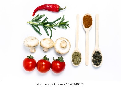 Tomatoes mushrooms and spices on a white background