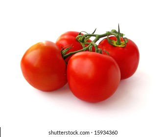 Tomatoes on branch isolated on white background