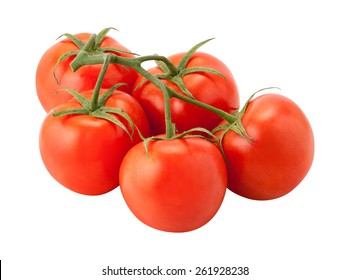 Tomatoes on the Vine with a clipping path, isolated on white. The image is in full focus, front to back.
