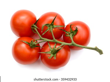 tomatoes on vine isolated on white