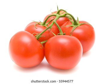 tomatoes on the vine isolated on white;