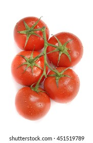 Tomatoes on a vine top view
