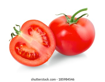 Tomatoes on white background, closeup, isolated