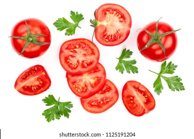 tomatoes with parsley leaves isolated on white background. Top view. Flat lay