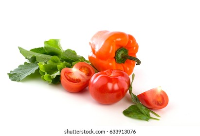 Tomatoes and pepper isolated