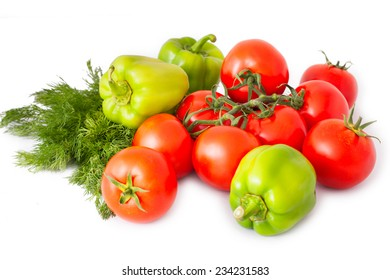 Tomatoes, peppers and fennel on white background