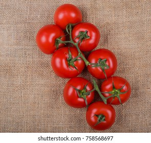 Tomatoes photographed on a Jute fabric