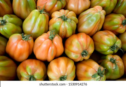 """tomatoes, red, ripe, on saleat local vegetable market, quality called """"ox heart"""", typical Italian variety, summer, Milan, Italy"""