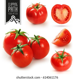 Tomatoes set with clipping path.