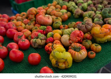 Tomatoes sold at a farmer's market