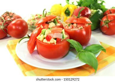 Tomatoes stuffed with fresh summer salad