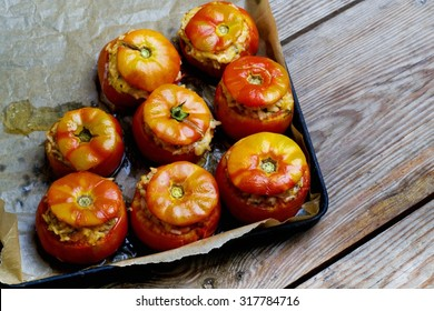 tomatoes stuffed with rice and baked in the oven