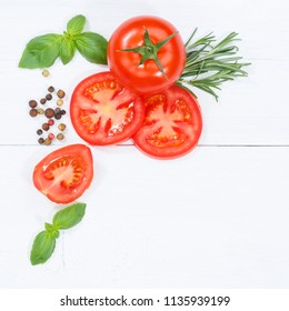 Tomatoes tomatos vegetables with basil from above square copyspace copy space wooden board wood