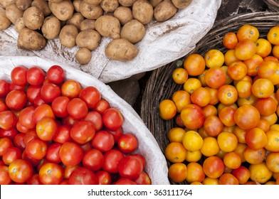 Tomatos and potatos at the indian market