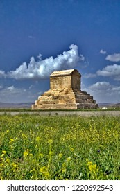 The Tomb of Cyrus the Great in Pasargad. Spring Pasargad Nature with Wild Flowers near the great Cyrus tomb Iran, Fars, Pasargad