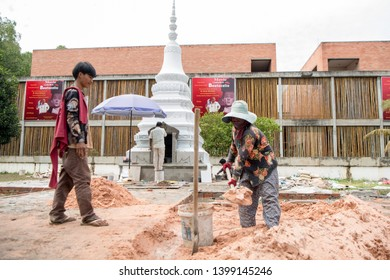 the tomb of Doktor Beat Richner of Beatocello is in construction at the Kantha Bopha Hospital in the city of Siem Reap in northwest of Cambodia.   Siem Reap, Cambodia, November 2018