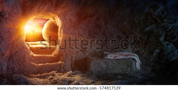 Tomb Empty With Crucifixion At Sunrise - Resurrection Of Jesus