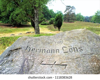 The Tomb of Hermann Löns -  The Tietlingen juniper grove near Fallingbostel in the Lüneburger Heide was the final resting place of the German poet Hermann Löns. Germany, Fallingbostel 05/31/2018